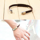 COOL Leather ChainTitanium Steel Bangle Bracelet Wristband Men's jewelry