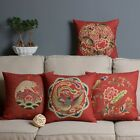 Red Dragon Phoenix Pillow Case Cushion Cover Square Oblong Linen Wedding Gift