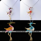 "1PC Crystal Rhinestone Swan Bead Necklace Pendant Chain Alloy Jewelry 19.5""L"
