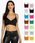 Womens Bralet Crop Wrap Over Bra Strap Midriff Sleeveless V Neck Vest Tank Top