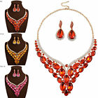 Women's Crystal Pendant Chain Necklace Stud Earrings Fine Wedding Jewelry Set