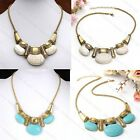 Boho Vintage Retro Howlite Turquoise Gemstone Bead Choker Bib Statement Necklace