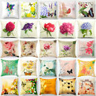 Flowers Butterfly Cotton Linen Pillow Case Sofa Cushion Cover Fashion Home Decor