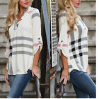 CH Womens Blouse Striped Plaid Long Sleeve Ladies Top T Shirt Loose Casual Tops