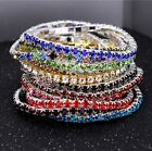 Single Rows Crystal Bridal Wedding Silver Colorful Stretch Rhinestone Bracelet