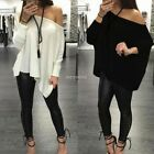 Women Ladies Loose Pullover T Shirt Long Sleeve Off Shoulder Tops Shirt Blouse