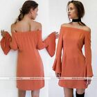 Sexy Womens Orange Off Shoulder Party Evening Cocktail Horn Sleeve Dress