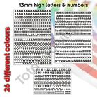 13mm Self Adhesive Vinyl Sticker Letters and Numbers  - Upper & Lower case
