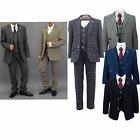Boys Suits Creon Previs Kids 3 Piece Tweed Checked Blazer Waistcoat Trouser New