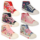 Girls Trainers Kids Floral Kelsi High Top Lace Up Pumps Flat Zip Shoes Casual