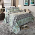 Spanish Abstract Reversible Cotton Quilted Blanket Bedspread Twin Queen King