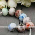 5pcs Howlite Turquoise Loose Gemtone European Beads Spacer Fit Charm Bracelet