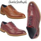Mens GRANTHAM Faux Leather Lace Brogue  Casual Formal Office Work Lace Up Shoes
