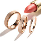 2/4/6mm Rose Gold Frosted Titanium Steel Wedding Band Ring Men/Women's Size 3-10
