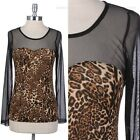 All Over Leopard Print Mesh Long Sleeve Top Key Hole Back Span Unique Stylish