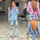 Fashion WomensSexy Bandage Striped Long Sleeve Backless Casual Shirt Tops Blouse