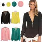 Womens Casual Chiffon V-neck Zipper Tops Long Sleeve Blouse