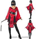 CA25 Shadow Warrior Costume Ladies Dragon Ninja Fancy Dress Outfit & Nunchucks