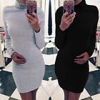 Sexy Women Winter Long Sleeve Casual High Neck Dress Bodycon Solid