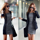 New Fashion Sexy Women Loose Long Sleeve Black Evening Party Design Dress