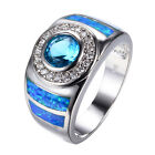 Blue Fire Opal Aquamarine Wedding Ring Silver Plated Engagement Jewelry Size 6-9