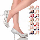 WOMENS LADIES MID KITTEN HEEL SMART WEDDING PARTY EVENING WORK COURT SHOES SIZE