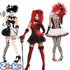 Ladies Jester Harlequin Halloween Costumes Womens Fancy Dress