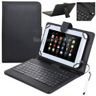 "US For Samsung Galaxy Tab A E S S2 7"" 8"" 10.1"" Leather USB Keyboard Case Cover"