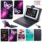 """US Fr Samsung Galaxy Tab A E S S2 S3 7"""" 8"""" 10.1"""" Leather USB Keyboard Case Cover"""