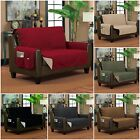 Quilted Reversible Slip-Resistant Loveseat Protector Slipcover 2 Storage Pockets
