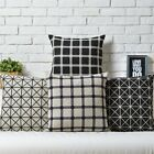 Simple Black Beige Checked Throw Pillow Case Decor Cushion Cover Square Linen