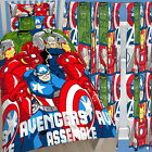 "Avengers Assemble Battle Single Duvet & Matching 54"" Drop Lined Curtains Bed Set"