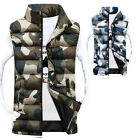 Men Casual Hooded Sleeveless Down Cotton Camo Vest Jackets Thicken Coats Outwear