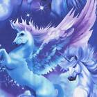 MAGICAL UNICORNS BLUE PURPLE LAVENDER Fabric BTY for Quilting, Craft Etc