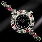 DELUXE NATURAL EMERALD,RUBY,SAPPHIRE,MARCASITE,CZ STERLING 925 SILVER WATCH 7.5#