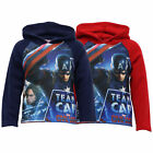 Boys Sweatshirt Kids Marvel Captain America Hooded Top Fleece Lined Winter New