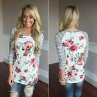 Women Long Sleeve T-shirt Striped Floral Shirt Casual Loose Tops Blouse Fashion