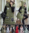 Women Winter Slim Warm Cotton Long Waistcoat Hooded Outwear Vest Sleeveless Coat