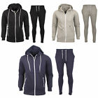 Mens Tracksuit Ribbed Set Fleece Hooded Top Bottoms Jogging Joggers Track Suit