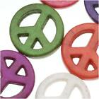 Dyed Stone Carved Peace Sign Beads Color Mix 15mm - 16 Inch Strand