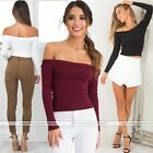 Sexy New Women Off Shoulder Shirt Crop Slim Tops Long Sleeve Blouse Sweater
