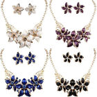 Women Girls Gold Plated Jewelry Set Crystal Flower Statement Necklace Earrings