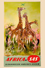 Africa By Clipper Giraffe Vintage African Travel Advertisement Poster