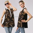 Lady Women's Blouse Fashion Casual Print Lapel Collar Sleeveless Chiffon N4U8