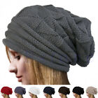 Women Men Knit Plaid Oversize Baggy Long Hat Slouchy Crochet Casual Beanies Caps