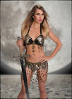 Black Metal Mesh Chainmail Warrior Costume Tribal Belly Dance Top & Belt Set