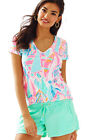 New Lilly Pulitzer MICHELE V-NECK TOP S / M / L Multi Out to Sea SAILBOAT Shirt
