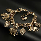Hot Women Vintage Bracelet Elephant Heart Bead Pendant Bracelets Fashion Jewelry