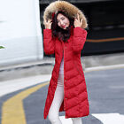 New Warm Women down cotton hooded Parka fur collar coat jacket solid color