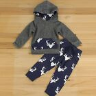 Toddler Kids Baby Boys Clothes Deer Hooded Tops Jacket +Pants Outfits 2PCS Set